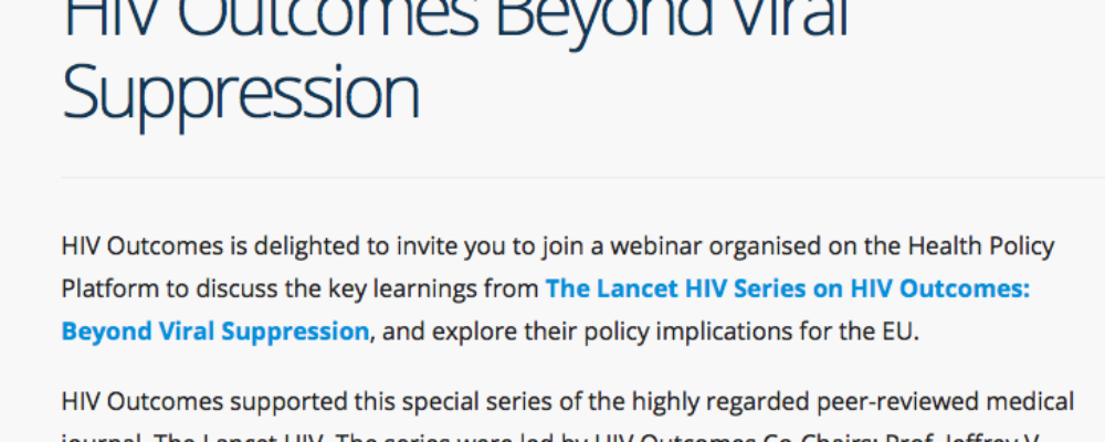 Webinar on The Lancet HIV Series: HIV Outcomes Beyond Viral Suppression